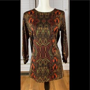 New Direction Tunic Style Top Brown Orange Red S